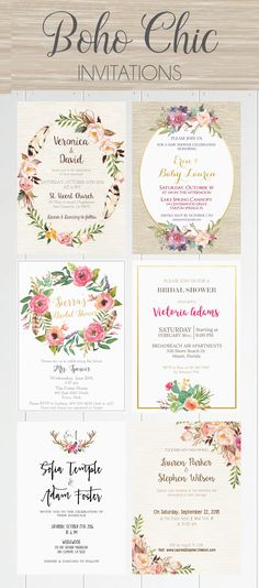 Beautiful Boho Chic Invites! ♥ Today we're sharing the most amazing boho chic… More