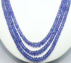 "Queen's Necklace 324 Ct Natural Tanzanite Roundelle 3 Faceted Strings 19 "" Inch"