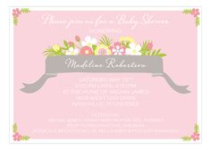 Beautiful Banner Pink Baby Shower Invitation #Baby #Shower