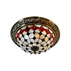 Decorative 3 Light Stained Glass Flush Mount Ceiling Light