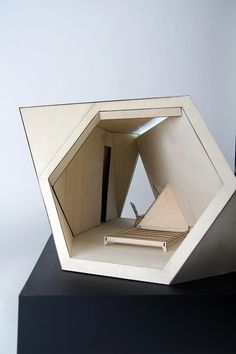 This is a collaboration with the architect of the Tetra Shed.      This is a 1:10 model of a Tetra Shed Module of 3. It was a quick team project with another student, using Birch Plywood throughout. Its large scale makes it an good presentation model to help promote and sell the idea of the Tetra Shed.