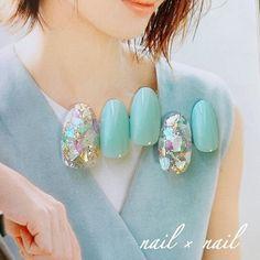 nails - nail × nailのネイルデザイン[No Turqoise Nails, Green Nails, Japanese Nail Design, Japanese Nail Art, Gorgeous Nails, Pretty Nails, Aloha Nails, Nail Atelier, Bridal Nail Art