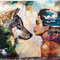 Wolves and women are relational by nature inquiring possessed of great endurance and strength. They are deeply intuitive intensely concerned with their young their mate and their pack. They are experienced in adapting to constantly changing circumstances; they are fiercely stalwart and very brave. - Clarissa Pinkola Estés Stunning art by @dimitramilan  #gutsygirlart #art #streetart #wildtruthretreat #womenempoweringwomen #womenwhorunwiththewolves #brave
