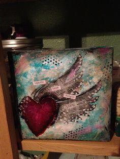 Hearts take flight~Mixed media.