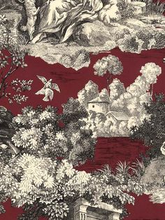 Toile Wallaper in on sale now at AmericanBlinds.com! Crimson makes this classic pattern look so dramamtic.