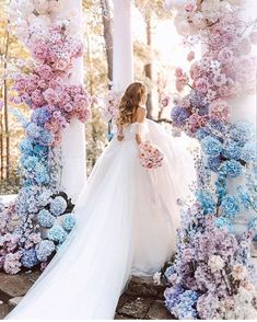 What ombre wedding dreams are made of Double tap if you agree! photo bride florals via . Pink Wedding Colors, Blush Wedding Flowers, Blush Pink Weddings, Romantic Weddings, Floral Wedding, Blue Weddings, Bouquet Wedding, Whimsical Wedding, Tulle Wedding