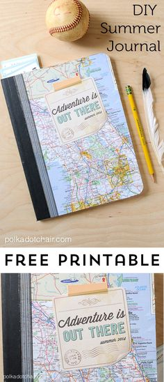 "DIY Summer Journal and Free ""Adventure is Out There"" Printable :: Planning to use this as a cover for a Field Trip Scrapbook Kids Travel Journal, Summer Journal, Travel Journal Scrapbook, Travel Journals, Travel Books, Kids Scrapbook, Scrapbook Albums, Scrapbooking Ideas, Smash Book"