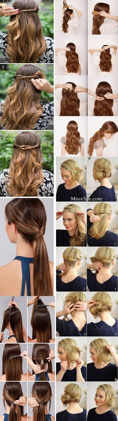 29 Trendy hairstyles festa passo a passo Hair Day, New Hair, Medium Hair Styles, Curly Hair Styles, Hair Arrange, How To Make Hair, Trendy Hairstyles, Blond, Hair Inspiration