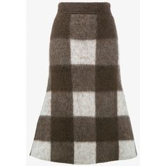 BALENCIAGA Wool and Mohair Check Skirt (€710) ❤ liked on Polyvore featuring skirts, long metallic skirt, checkerboard skirt, long wool skirt, checkered skirt and brown wool skirt