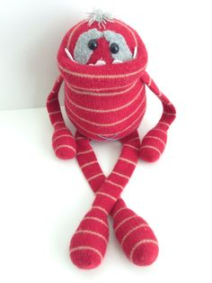 Smug Monster- plush toy upcycled from sweaters- One of a kind on Etsy, $35.00
