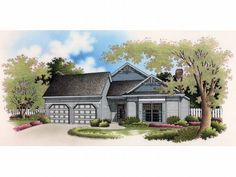 3 bed, 2 bath, garden One-Story Home Plan, 021H-0074