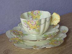 Plato y taza de té de mango de 1930 antiguo Royal por ShoponSherman