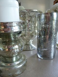 DIY Mercury Glass Tutorial how to re-use glass jars, giving them an antique look Bottles And Jars, Glass Jars, Mirror Glass, Mirrors, Mason Jars, Diy Projects To Try, Craft Projects, Craft Ideas, Weekend Projects