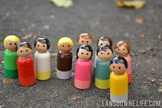 Peg dolls are quite the rage in the indie craft world, and if you have yet to see the variety of decorated wooden dolls, you have been missing out! Not only do these adorable little things come in… Doll Crafts, Diy Doll, Fun Crafts, Crafts For Kids, Acorn Crafts, Wood Peg Dolls, Clothespin Dolls, Operation Christmas Child, Wooden People