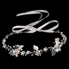 Oureamod Silvery Wedding Headbands Freshwater Pearls Prom Bridal Hair Accessories *** Read more reviews of the product by visiting the link on the image.
