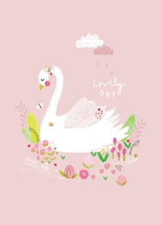 adorable swan poster printed on 250 gram FSC biotop environmentally friendly inkt 21 x cm wrapped with cardboard and transparant bag Aless Baylis for Petite Louise Kids Prints, Baby Prints, A4 Poster, Baby Art, Cute Images, Pretty Art, Cute Illustration, Cute Drawings, Cute Wallpapers