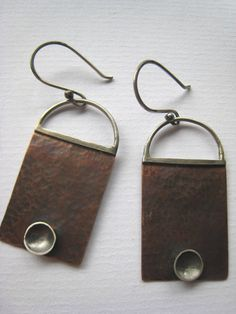 Sterling Silver and Copper Oxidised Tribal Dangle by ZaZing, $50.00