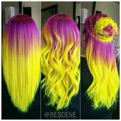 Electric sunset hair pink and yellow