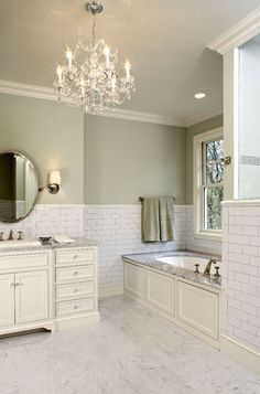 Suzie: Hendel Homes - Gorgeous green bathroom with sage paint color, subway tiles backsplash. LOVE the green paint colour . - Futura Home Decorating Bathroom Renos, White Bathroom, Small Bathroom, Bathroom Green, Bathroom Ideas, Bathroom Colours, Cream Bathroom, Master Bathroom, Light Green Bathrooms