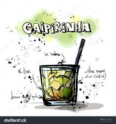 Hand Drawn Illustration Of Cocktail. Caipirinha. Vector Collection. - 155658500 : Shutterstock