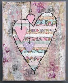 mixed media art Love My Tapes: Valentine mixed media canvas Mixed Media Collage, Mixed Media Canvas, Collage Art, Mixed Media Journal, Painting Collage, Kunstjournal Inspiration, Art Journal Inspiration, Altered Canvas, Altered Art