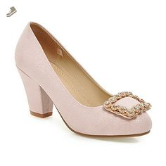 AmoonyFashion Women's Pull On High Heels Pu Solid Round Closed Toe Pumps-Shoes, Pink, 36 - Amoonyfashion pumps for women (*Amazon Partner-Link)
