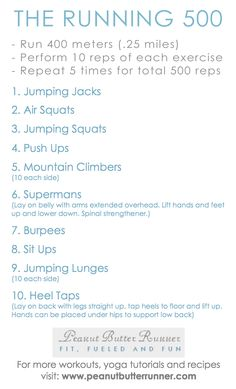 A variation of the most popular workout on Peanut Butter Runner with run intervals and half the reps.