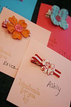 cards for each baby shower guest to then pin her finished handmade hair clip for baby ~ And Everything Sweet: Feather her nest!!!