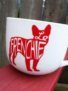 Items similar to Le Frenchie mug - French bulldog, Frenchie, bulldog love, ceramic mug on Etsy French Bulldog, Wine Glass, Ceramics, Mugs, Unique Jewelry, Tableware, Handmade Gifts, Etsy, Vintage