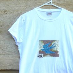 Tshirt womens bird slim fit white applique swallow by BoosTees, $18.00