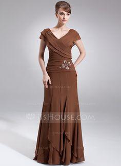 A-Line/Princess V-neck Floor-Length Chiffon Mother of the Bride Dress With Beading Cascading Ruffles (008006059) - JJsHouse