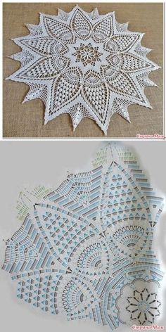 Hottest Free Crochet Doilies diagram Strategies Bonito y sencillo centro de ganchillo. Crochet Tablecloth Pattern, Crochet Doily Diagram, Crochet Mandala Pattern, Crochet Art, Crochet Doilies, Easy Crochet, Free Crochet, Crochet Patterns, Doily Rug
