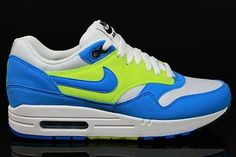 ff889365dfa8f Nike Air Max 1 Women s Running Shoe White Light Blue Neon Yellow