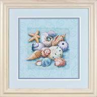 Shells on Blue: Overig: Zee en Strand: Borduurpakketten: Webshop: Online Borduurplezier