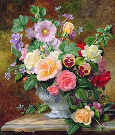 Albert Williams (1922-2010) - Still life with roses, pansies and other flowers.