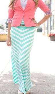 Chevron Maxi Skirt! Available in mint and yellow!!