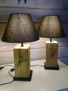 Pöytälamppu Ikea-rungolla ja -varjostimella. Rustic table lamp from reused wood. Ikea, Lighting, Wood, Home Decor, Decoration Home, Ikea Co, Woodwind Instrument, Room Decor, Timber Wood