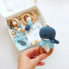 Whale shower gift box, Pregnancy gift set with whale rattle, Sea themed baby shower gift, Postpartum Baby boy present basket. Cotton Whale Rattle, wooden dummy clip and teething bracelet Distintivos Baby Shower, Baby Shower Cards, Baby Cards, Baby Shower Themes, Baby Shower Gifts, Crochet Baby Toys, Baby Knitting, Presents For Boys, Diy Bebe