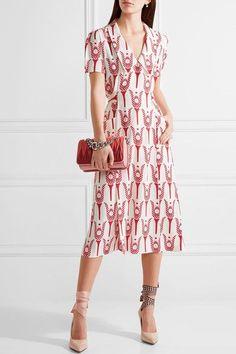 Miu Miu - Printed Crepe De Chine Wrap Midi Dress - Red - IT46