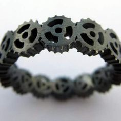 Oxidised silver Cog eternity ring