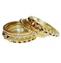 Wed red & Gold Lac & Brass bangles (Set of 6)