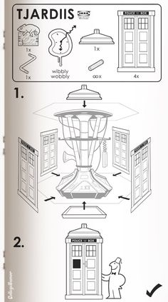 Ikea Tardis manual.  I love the broken chameleon circuit board.
