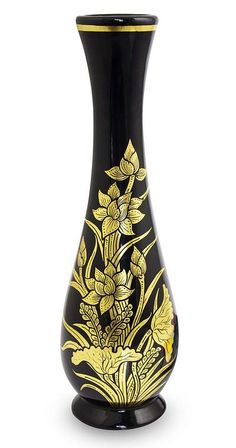 Lacquered decorative wood vase, 'Golden Lotus' by NOVICA