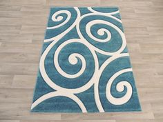 Teal & White Koru Design Modern Turkish Rug Size: 120 x 170cm