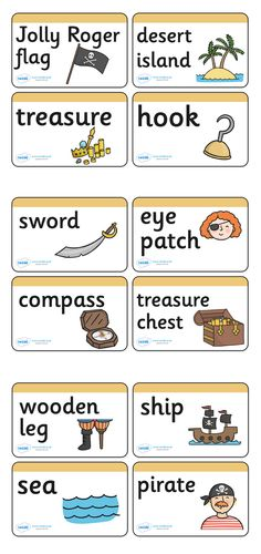 Twinkl Resources >> Pirate Word Cards >> Classroom printables for Pre-School, Kindergarten, Elementary School and beyond! pirate, pirates, pirate ship, topic, word card, treasure, ship, jolly roger, ship, island, ocean, visual, letter cards, matching cards, display, poster, treasure island,
