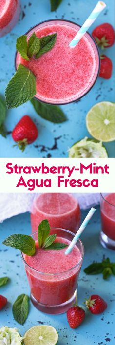 Strawberry-Mint Agua Fresca is filled with fresh fruit. You'll love this refreshing drink.