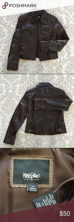 Mossimo brown crinkle leather zip up jacket Cool little genuine brown leather jacket has distressed/crinkle finish for a worn in hip look. Excellent condition! The perfect jacket for Fall to pair with jeans & boots. Sized medium (fit 4-8 best). Mossimo Supply Co. Jackets & Coats
