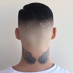 Then you need to check out these coolest neck tattoo for men. Back Of Neck Tattoo Men, Wing Neck Tattoo, Back Tattoo, Head Tattoos, Wolf Tattoos, Finger Tattoos, Sleeve Tattoos, Diy Tattoo, Modern Barber Shop