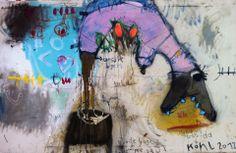 """Die neuen 2012er, """"ich sollte kotzen - statt dessen steht da Kohl"""", 100 x 160 cm, MT auf Leinen;"""