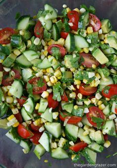 This is pure summer in a bowl! Fresh sweet corn, cherry tomatoes, cucumber, and herbs bring a blast of summery taste to this simple avoc...
